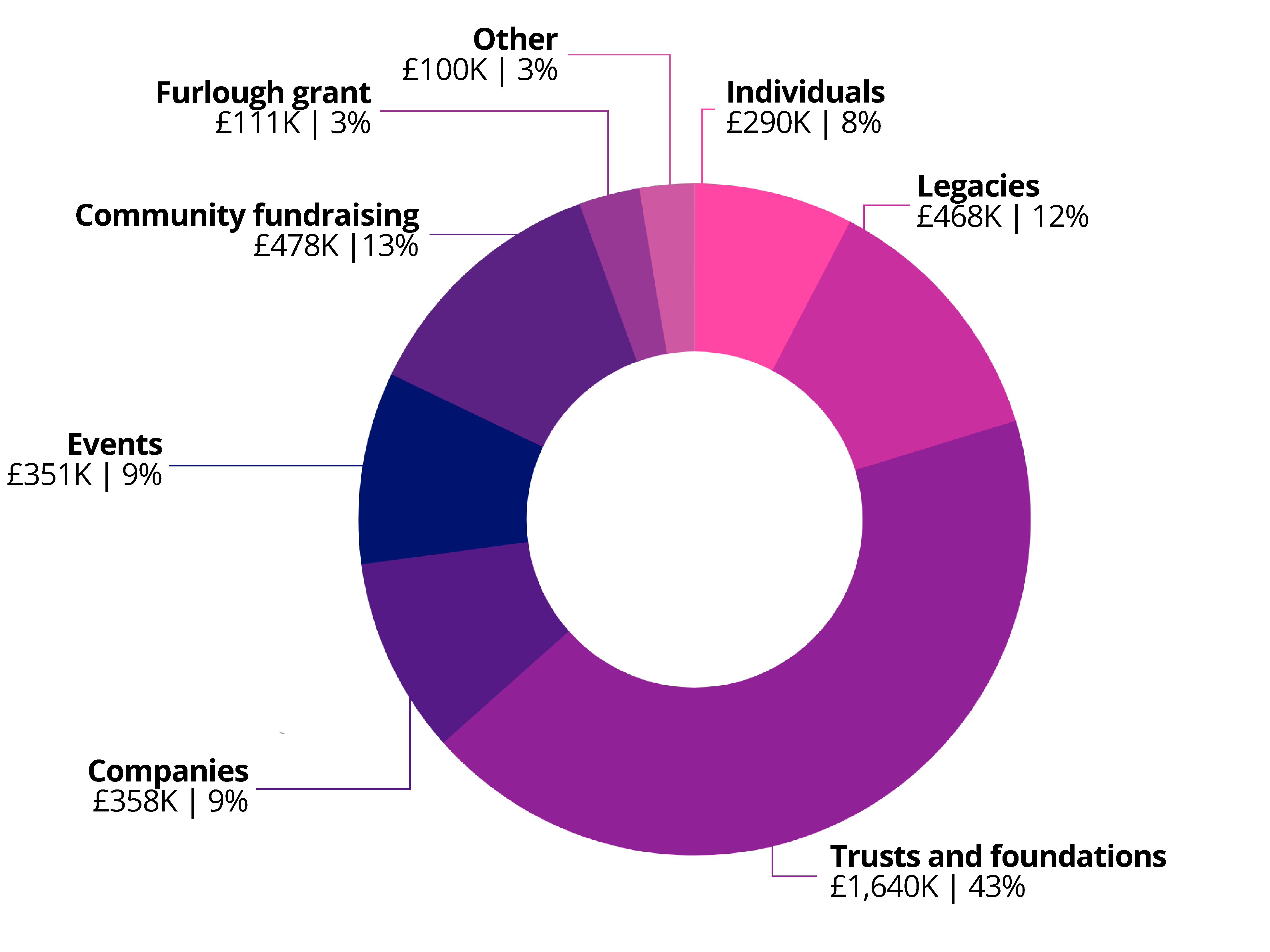 graph showing income for Breasr Cancer Haven